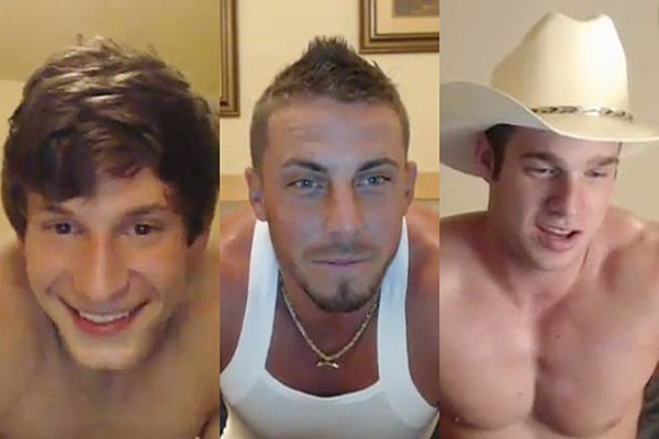 Three hot athletic jocks Brad Spear, Derek Jones and Tanner Whitlock shoot their milky loads with hot dildo play in webcam at Gayhoopla