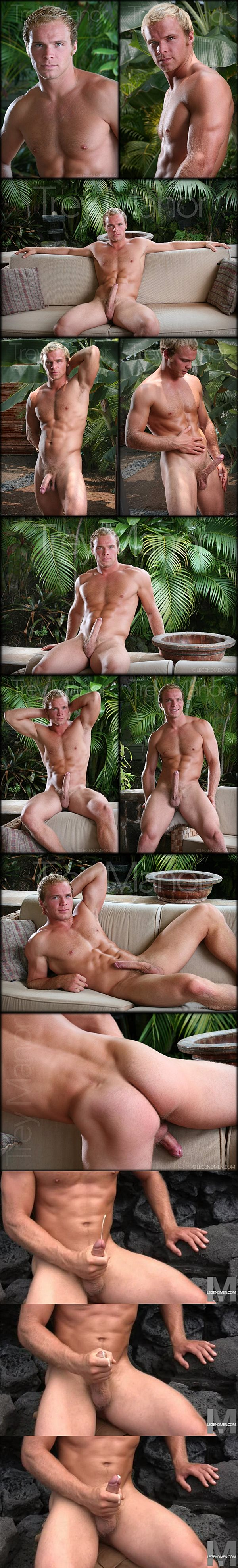 Handsome blond jock Trey Manor shows his flawless muscle body and shoots his hot wad at Legendmen