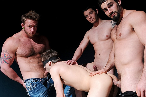 A sneak peek of Aaron Bruiser, Haigen Sence and Jaxton Wheeler fucking Johnny Rapid with hot double penetration in Happy Hour Sex at Jizzorgy