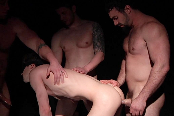 A sneak peek of Aaron Bruiser, Haigen Sence and Jaxton Wheeler fucking Johnny Rapid with hot double penetration in Happy Hour Sex at Jizzorgy 01