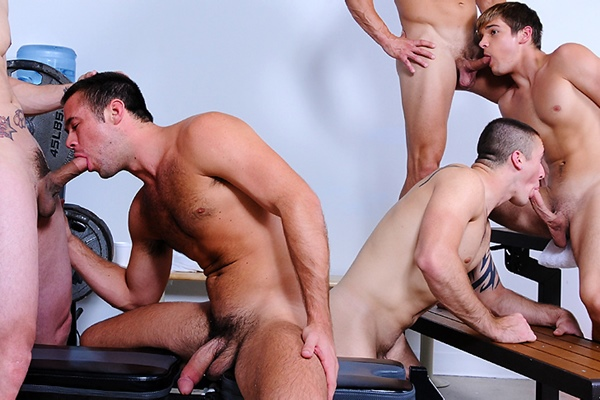 Sneak Peak of Bryce Evans, Connor Kline and Phenix Saint fucking Johnny Rapid & Mike De Marko in Muscle Worship