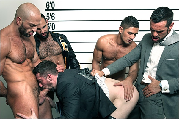 Hot muscle hunk Bruno Boni, Dato Foland & Denis Vega gangbang Paco & Scott Hunter in The Line Up at Menatplay