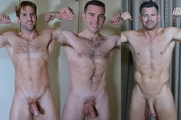 Hot muscle studs Jack, Sebastian and Shane show off their sexy naked bodies and shoots their big loads at Theguysite