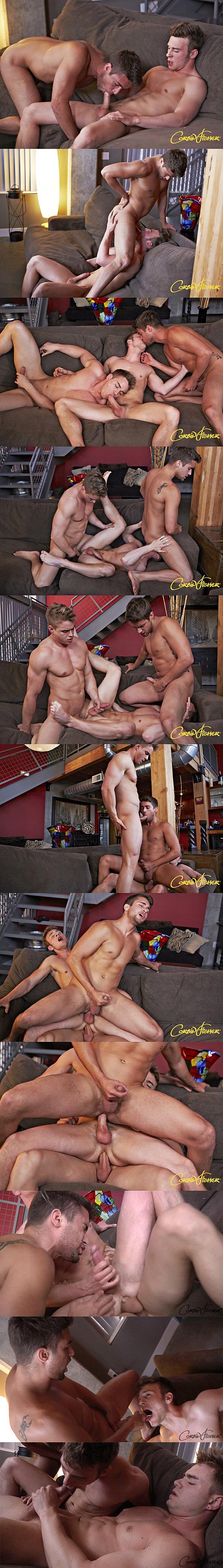 Muscle jock Connor barebacks Brayden & Zeb with three big cum facials in Kansas City: Connor's 3 Way at Corbinfisher 02
