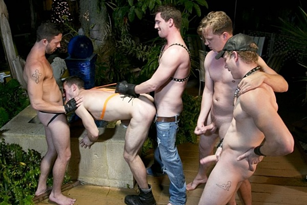 Dallas Reeves, Johnny Forza, Bryan Cavallo and Isaac Hardy bareback and piss on Dalton Pierce in Piss and Boots at Dallasreeves