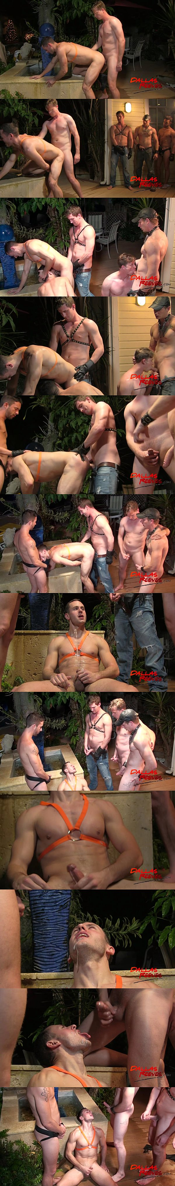 Dallas Reeves, Johnny Forza, Bryan Cavallo and Isaac Hardy bareback and piss on Dalton Pierce in Piss and Boots at Dallasreeves 02