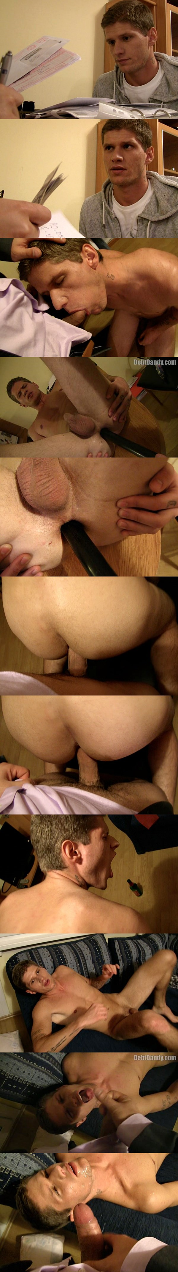 A handsome straight lad sucks dick and gets fucked bareback to pay the debts in Episode 03 at Debtdandy 02
