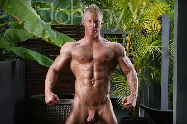Handsome blond muscle stud Johnny V will get his tight ass fucked by Ryan Rose at Falconstudios