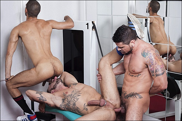 Real life lovers Antonio Miracle and Mario Domenech double penetrate Alejandro Dumas at Fuckermate