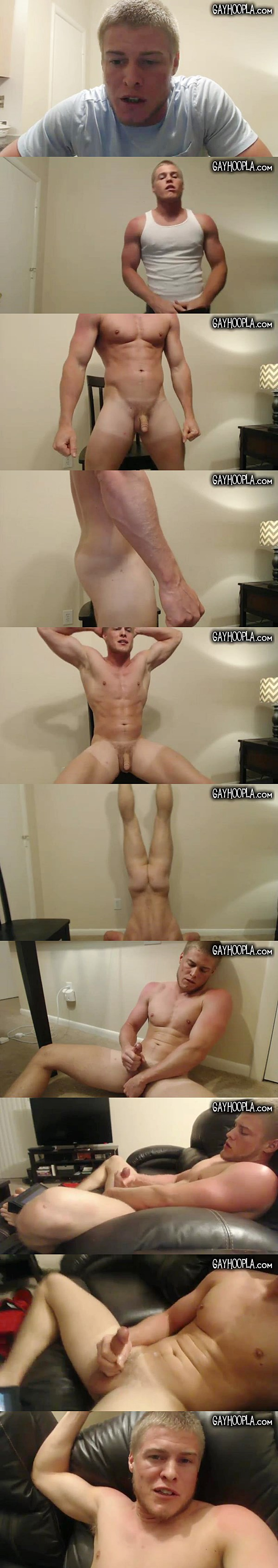 Masculine stud Prestin Presley shows off his gorgeous naked body before he shoots his hot wad at Gayhoopla