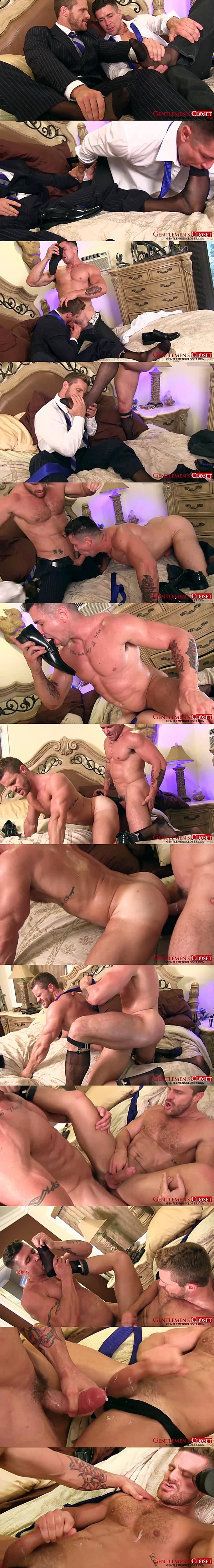Trenton Ducati fucks Landon Conrad with hot fetish of foot sucking, foot sniffing, sheer socks and panty hose at Gentlemenscloset 02