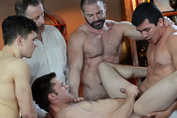 Bishop Angus, Patriarch Smith, Elder Hardt and Elder Gonzalez bareback Elder Harward with hot facial and creampie in Elder Harward Setting Apart at Mormonboyz