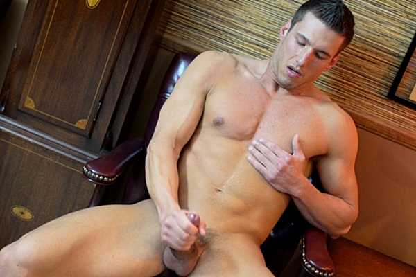 Hot muscle jock Miller strokes a big load of cum out of his stiff pole by Bishop Angus' Order in Elder Miller Evaluation at Mormonboyz