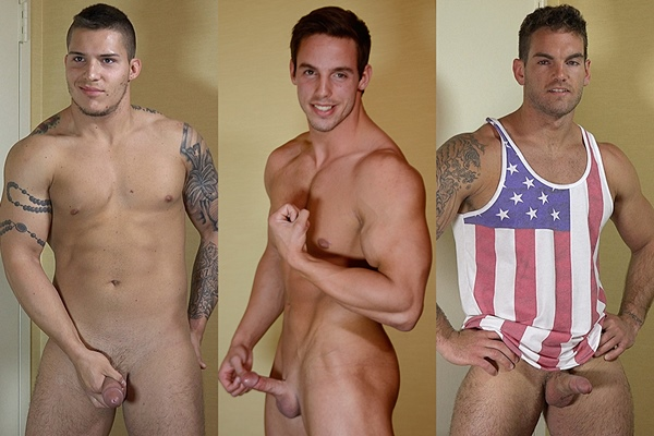 Sexy masculine muscle studs Ace, Hunter and Chace Lachance shoot their thick cum at Theguysite