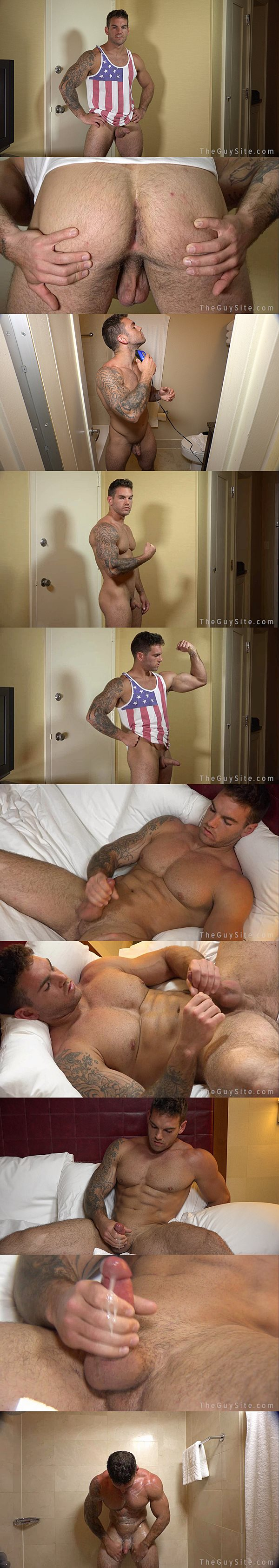 Rugged handsome Chace Lachance shows off his hot naked body and strokes a big load out of  his stiff pole at Theguysite