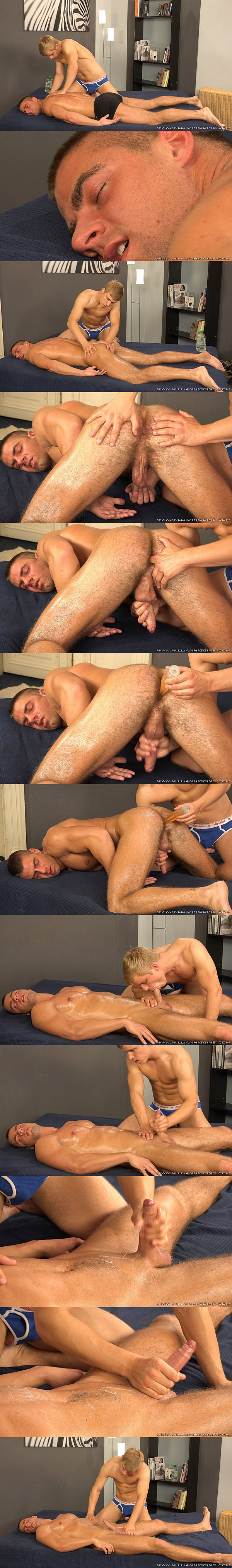 Ivan Mraz fingers and dilfo-fucks Arny Donan's tight virgin hole before he strokes the cum out of Arny at Williamhiggins 02