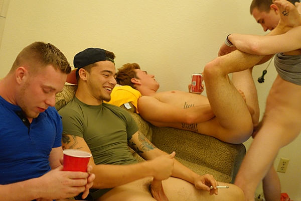 Brad gets gangbang barebacked before he takes 4 big loads in the ass in U Smoke it U Suck it at Fraternityx