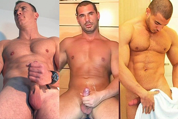 Gorgeous muscle hunks Alexandre, Andreas and Farid release their big loads of cum at Keumgay