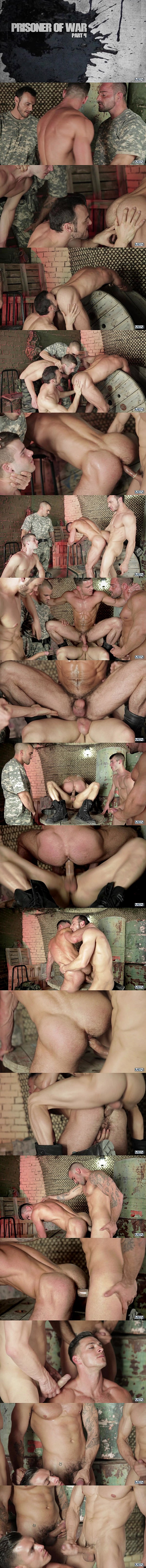 A sneak peek of Damien Crosse, Gabriel Vanderloo, Alex Brando and Allen King fucking Paddy O'Brian in Part 4 of Prisoner of War at Men 01