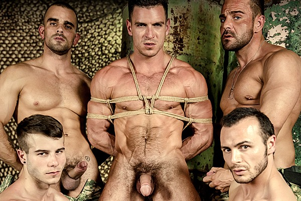 Paddy O'Brian gets gangbanged for the first time by Damien Crosse, Gabriel Vanderloo, Alex Brando and Allen King at Men