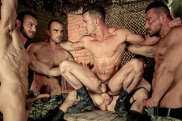 Four muscle studs Alex Brando, Allen King, Damien Crosse & Gabriel Vanderloo gangbang Paddy O'Brian's tight hairy hole in Prisoner of War Part 4 at Jizzorgy