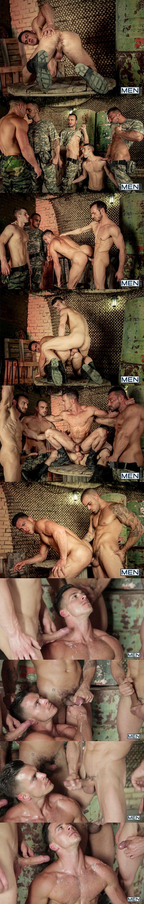 Four muscle studs Alex Brando, Allen King, Damien Crosse & Gabriel Vanderloo gangbang Paddy O'Brian's tight hairy hole in Prisoner of War Part 4 at Jizzorgy 02