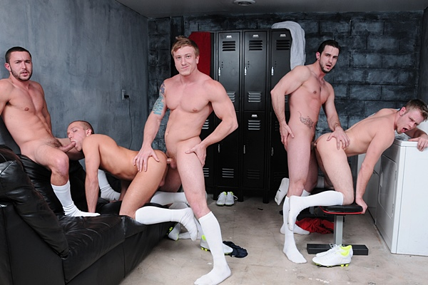 Muscle jocks Phenix Saint and Tom Faulk fuck Colt Rivers, Rob Ryder and Steve Stiffer in Score Part 3 at Jizzorgy