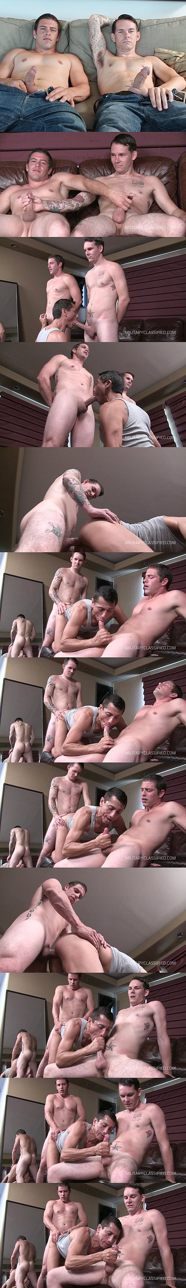 Sexy straight military studs Bobby & Braubaker fuck Rob till they get their hot loads jerked off at Militaryclassified 02