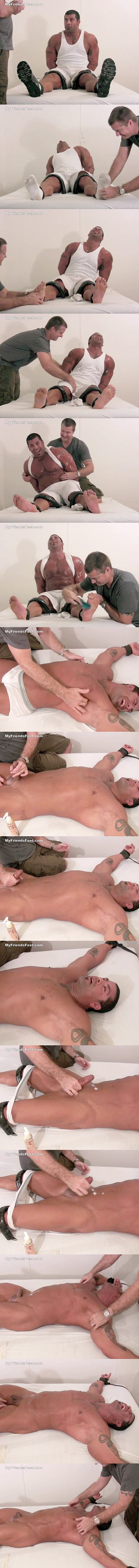 Macho bodybuilder Arnold gets bound and tickled till he gets his white hizz jerked off at Myfriendsfeet 02