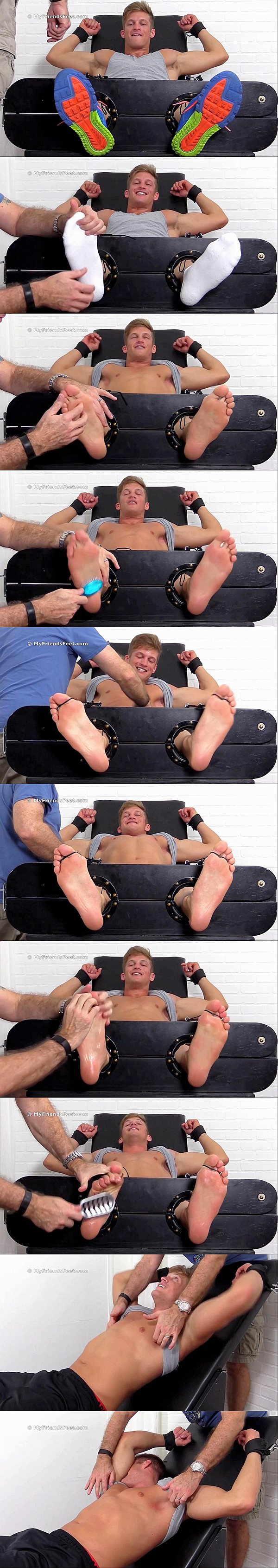 Hot blond muscle jock Mike gets foot worshiped and tickled hard at Myfriendsfeet