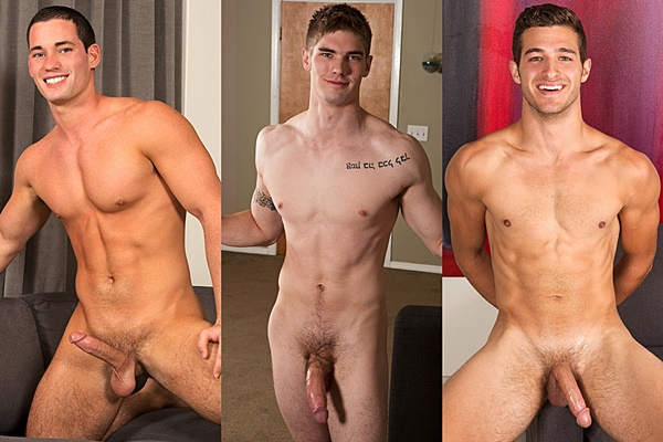 Gorgeous muscle jocks Dominic, Bill and Chris shoot their big loads of cum at Seancody
