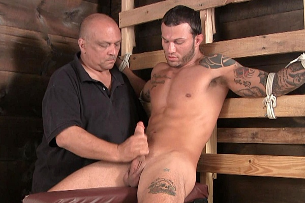 Muscular straight stud Tony gets edged and jerked off in Hold it for 60 Seconds at Slowteasinghandjobs