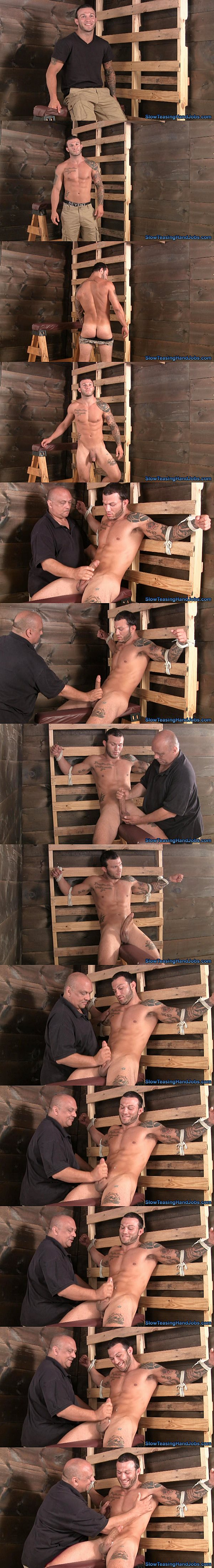 Muscular straight stud Tony gets edged and jerked off in Hold it for 60 Seconds at Slowteasinghandjobs 02