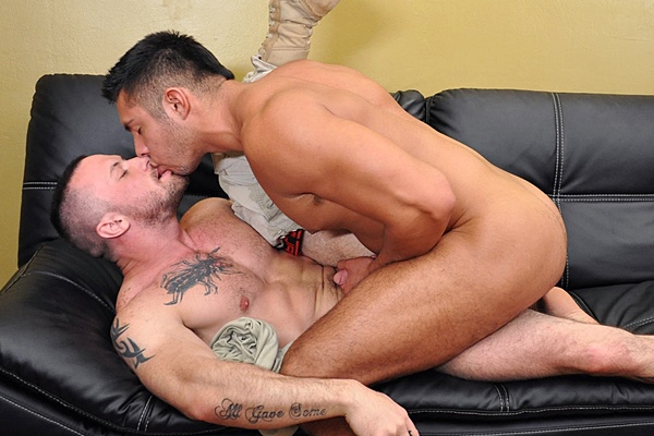 Private Seth Treston fucks Sergeant Miles in his tight muscle ass and gives Miles a big facial at All-americanheroes