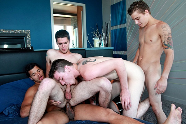Skyler Daniels, Kaden Alexander, Tyler White and Ryan Fields have a hot bareback fourway at Brokestraightboys