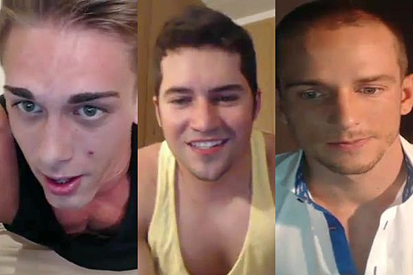Three hot new jocks Austin, Gambit Bleu and Jakub Stefano shoot theit big thick load in a live camshow at Gayhoopla