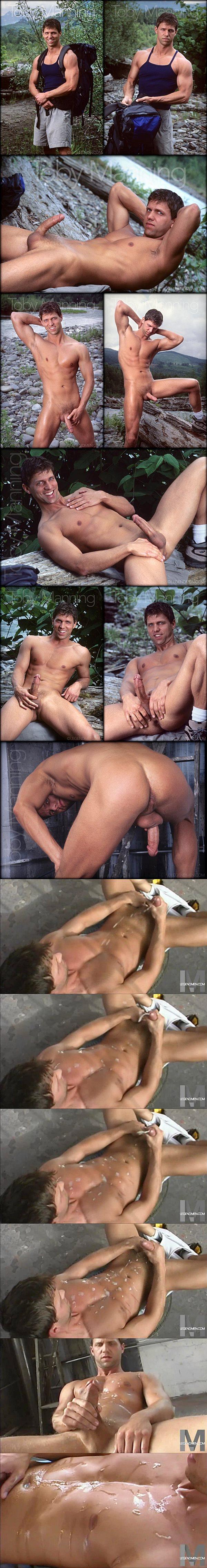 Sexy macho hunk Toby Manning has intense orgasm with 15 super big cumshots in a row at Legendmen