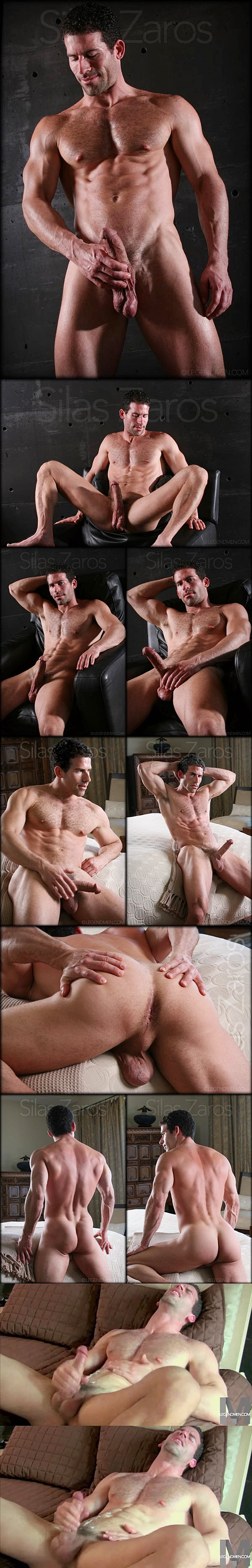 Super handsome muscle hunk Silas Zaros fingers his tight virgin ass and shoots four big loads at Legendmen