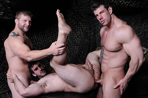 Hot muscle hunks Colby Jansen and Zeb Atlas tag team Jaxton Wheeler in Tour of Duty Part 3 at Drillmyhole