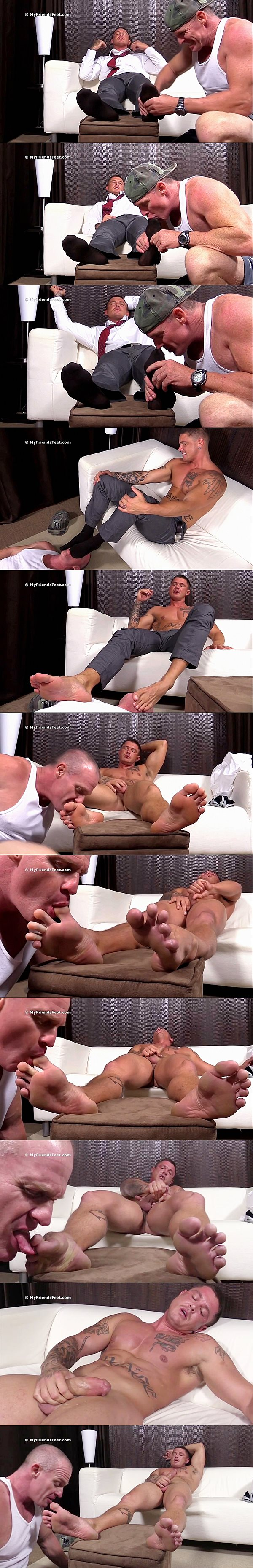 Sexy muscle jock Sebastian Young cums while getting his size 12 feet worshiped at Myfriendsfeet 02