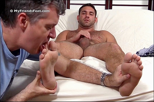 Sexy hairy muscle jock Seth gets his feet and dress socks worshiped till he jerks his hot cum out of his hard dick at Myfriendsfeet