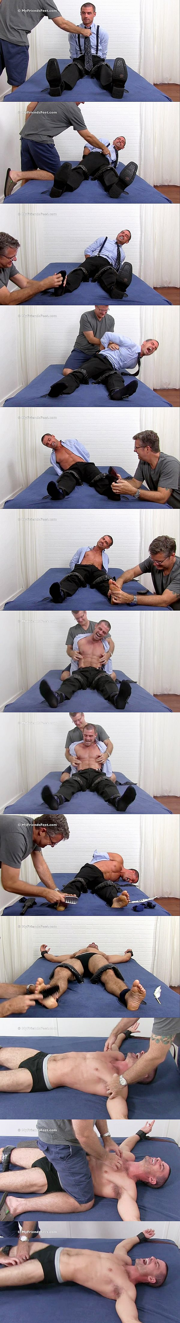Hot muscle jock Sawyer (aka Daniel at Seancody) gets his sensitive feet and body tickled and tortured at Myfriendsfeet 02