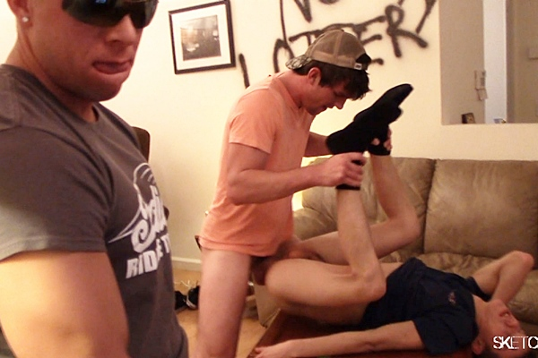 Sam Truitt, Bryan Cavallo and Eli Hunter gangbang creampie Kev with three big loads at Jizz Junkie in Sketchysex