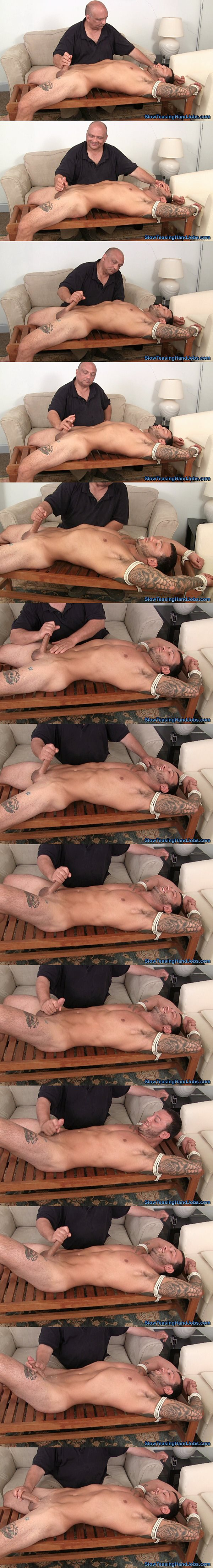 Sexy straight muscle stud Tony shoots his hot cum by Rich's amazing handjobs in Tony Has Sixty Seconds to Cum at Slowteasinghandjobs 02