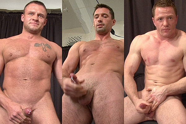 Handsome macho straight hunk Brandon, Justin and Sam jack off at Thecastingroom