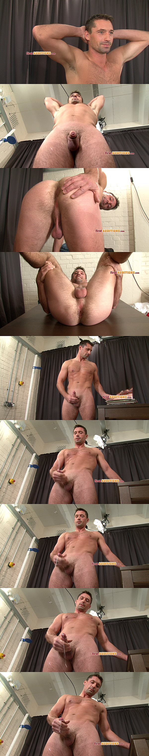 Handsome rugby player Justin shoots his creamy load at Thecastingroom