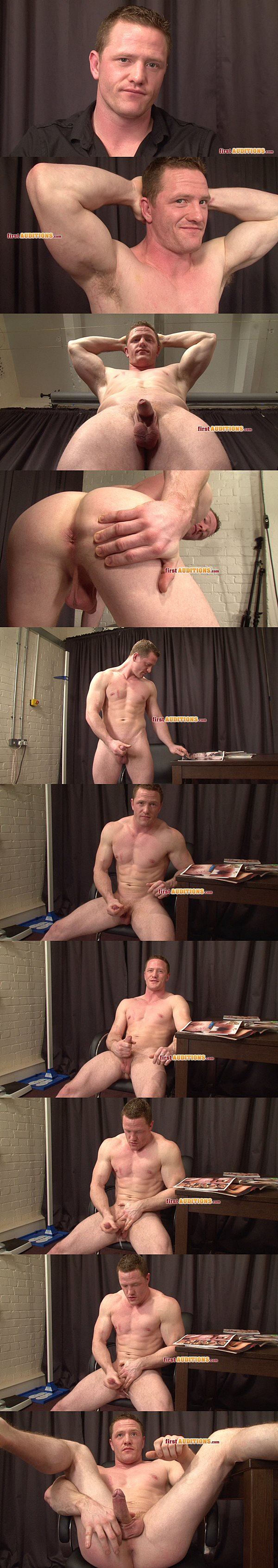 Masculine tough cage fighter Sam reveals his tight virgin hole and blows his hot load at Thecastingroom