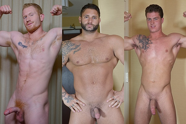 Hot muscle jocks Colby, Mike Buffalari and Mark jack off at Theguysite