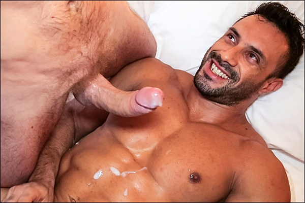 Big-dicked Tim Kruger power fucks hot muscle hunk Flex (aka Joe Barkley) in his tight ass at Timtales