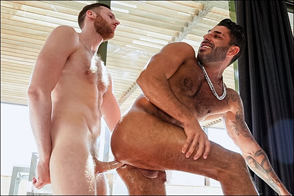 Horse hung Tim Kruger plows sexy hairy stud Raul Korso's tight ass at Timtales